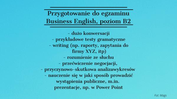Przygotowanie do egzaminu B2 angielski biznesowy